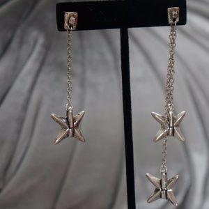 """New UNO de 50 4"""" Drop Silver Star Dangle Earrings"""